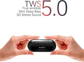 Wireless Bluetooth Earbuds KUNGIX True Wireless Headphones, Bluetooth 5.0 3D Stereo Sound Touch Mini Noise Cancelling Earphones, Sweatproof Sports TWS Earbuds Built in Microphone for iPhone Android