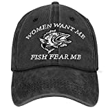 Ikzuvow Men Baseball Cap-Funny Fishing Gift-Women Want Me Fish Fear Me-Vintage Adjustable Black Low Profile Dad Ball Hat