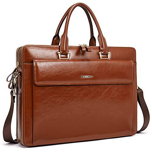 """Women Oil Wax Leather Briefcases Slim Large Business 15.6"""" Laptop Vintage Shoulder Bag for Men brown"""