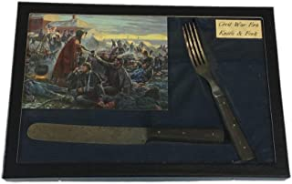 Southern Star Displays Civil War Era Knife & Fork Set in Glass Topped Display Case with COA