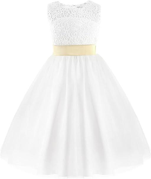 Tiaobug Tiaobug Festliches Madchen Kleid Prinzessin Blumenmadchen Kleid Hochzeit Brautjungfern Festzug Kleider Weiss 92 152 Kleider Amazon De Bekleidung