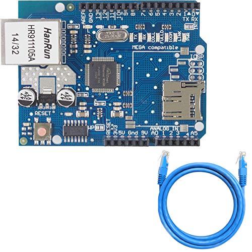 Youmile-Erweiterungskarte W5100 Ethernet Shield W5100 Ethernet Network Shield mit SD-Kartensteckplatz für Arduino UNO R3 Mega 2560 1280 A057