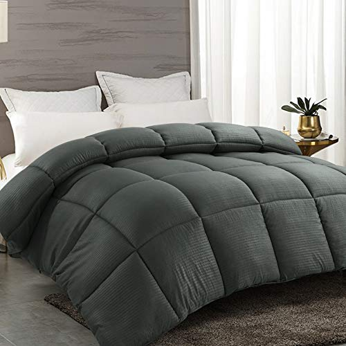 RYONGII Down Comforter Cal King Size Grey All-Season Reversible Alternative Quilted Hypoallergenic Hotel Plush Microfiber Fill Insert Angle Label Warm Fluffy Machine Washable (Grey, Cal King)