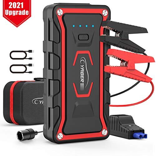 YABER Booster Batterie Voiture, 1600A 20000mah Booster de Batterie Voiture Moto (Toute Essence, jusqu'à 7.0L Diesel) avec Deux Lamp LED,Deux Ports USB à Charge Rapide 3.0