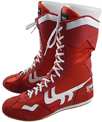 High Top Boxing Shoes Boxer Boots for Men Women Kids Red