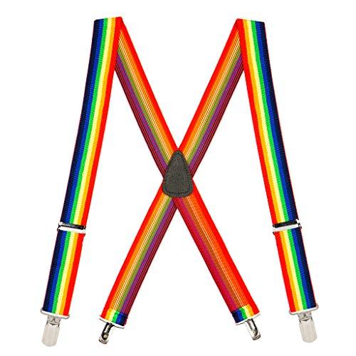 SuspenderStore Men's Rainbow 1.5-Inch Small Pin Clip Suspenders