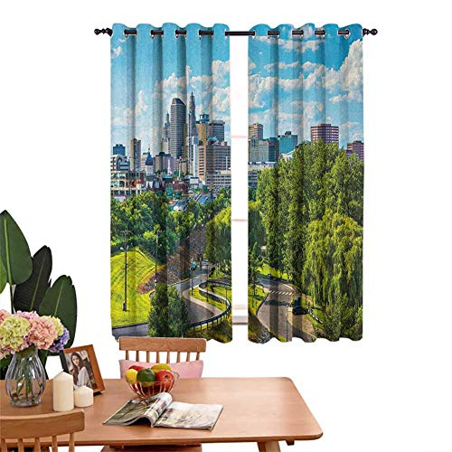 Insulated Solid Grommet top Printed Curtain Hartford Connecticut USA Downtown Cityscape Aerial View Modern Life Sky Blue Green Grey Sun Shade Set of 2 Panels W55 x L72