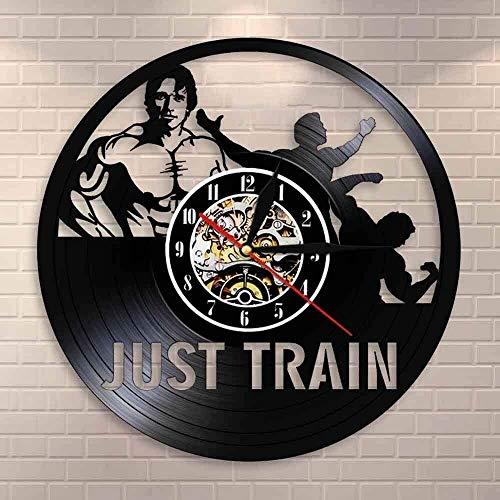 Ldwxxx Reloj de Pared de la Pared del Arte del Reloj de Pared Gym Hombre del músculo Contrapeso Disco de Vinilo del Reloj de Pared del Gimnasio del Reloj Decorativo 30cm x 30cm