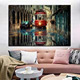 N / A HD Print Retro Trip Bus Cityscape Canvas Painting Modern Street Landscape Poster and Prints Picture Cuadros Decoración de Pared para habitación 60x80 cm Sin Marco