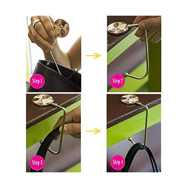6 Pack Purse Hook Long Handbag Hanger for Table Desk, Creatiee Portable Bag Holder Under Counter Handbags Hook for Women Girl Gift(6
