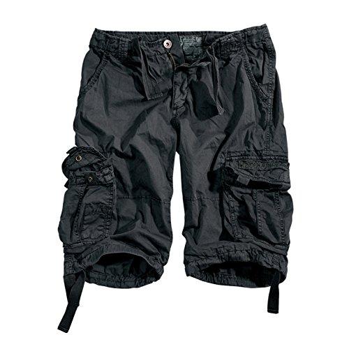 ALPHA INDUSTRIES Jet Cargo Short Kurze Hose mit Beintaschen 100% Baumwolle leicht bequem belastbar original, Farbe:Black, Größe:38