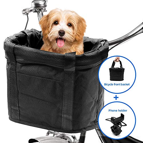 AceList Dog Bike Basket Front, Bonus Cell Bicycle Phone Mount, Quick Release Easy Install Removable Waterproof Small Pet Cat Dog Bicycle Baskets Front, Large Capacity for Mountain Picnic Shopping