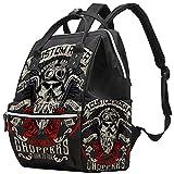 LORVIES Vintage Biker Skull Diaper Bag Backpack, Large Capacity Muti-Function Travel Backpack