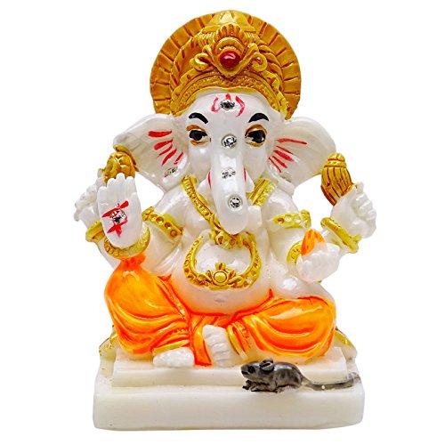 Seigneur Ganesha Poly Marbre Statue Cadeau Religieux Table De Bureau De Voiture Décor