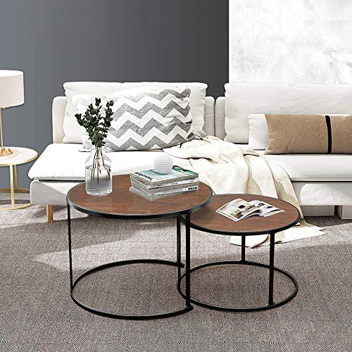 Living Room Round Coffee Table Set of 2, Accent Nesting End Table Sofa Side Table Walnut Wooden Tabletop with Black Metal Frame Nested Stacking Tea Table Large Little for Home Office