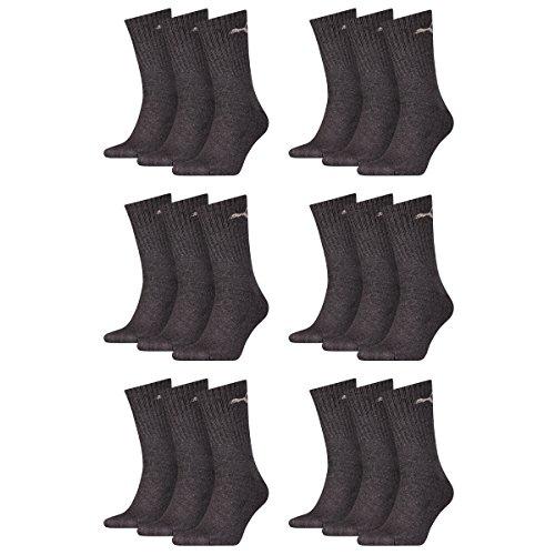 PUMA Unisex Crew Socks Socken Sportsocken MIT FROTTEESOHLE 18er Pack (39/42, Anthracite)