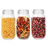 75oz/2200ml Glass Kitchen Storage Canister, Sealed Glass Jars with Lids, Airtight Glass Canister with Hinged Lid, Perfect for Kitchen Canning Cereal/Pasta/Sugar/Beans -Set of 3