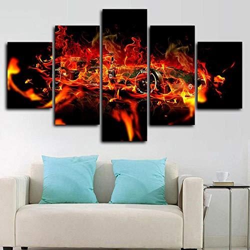 Impresión de Imagen 5 Piezas Cuadro en Lienzo Gran incendio de coche de Fórmula Uno F1 Lienzo Impreso, Cuadro ArtíStico para Pared, DecoracióN De HabitacióN para NiñOs, Pintura, Mural,