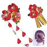 Wohlstand flower hair clip, kimono flower hair clip flower, novia,boda,tocado,mujeres,chicas(rojo)