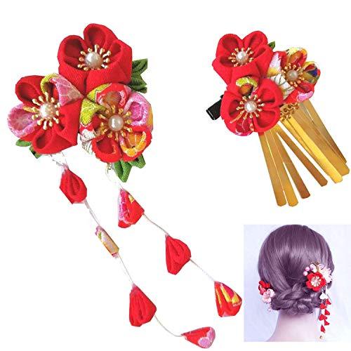 Wohlstand Fermaglio da donna,Fiori per Capelli,in stile giapponese,accessorio per capelli da matrimonio,squisito Kimono Fiore, Fermagli per Capelli per Donne Ragazze Festa Spiaggia Nozze(rosso)