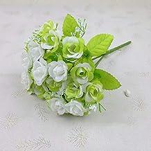 Coollooda 1 Bouquet 21 Heads Artificial Fake Cute Rose Flower Home Wedding Garden Decor White