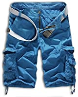 Leward Mens Casual Slim Fit Cotton Solid Multi-Pocket Cargo Camouflage Shorts (36, Blue)