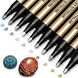 メタリックマーカーペン 10色セット カラーペン 水性 DIY サプライズボックス メタリックペン 多機能ペン アルバム 手作り サインペン 手作り 手帳ページ 写真ギフトカードや年賀状ド、ガラス、木材、陶芸などの表面に適用