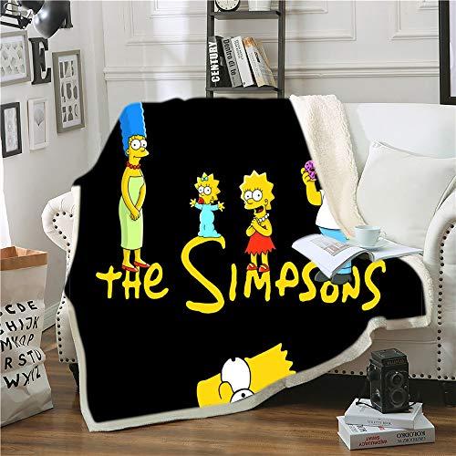 Nichiyo The Simpson - Manta de forro polar para adultos y niños, 100% microfibra, para sofá de cama y sofá, 06, 130cmx150cm