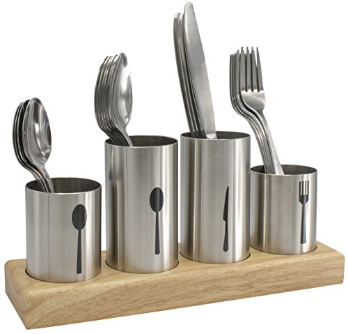 Sorbus Silverware Holder with Caddy for Spoons, Knives Forks, etc — Ideal for Kitchen, Dining, Entertaining, Buffet, Picnic, and More — Stainless Steel with Bamboo Wood Base