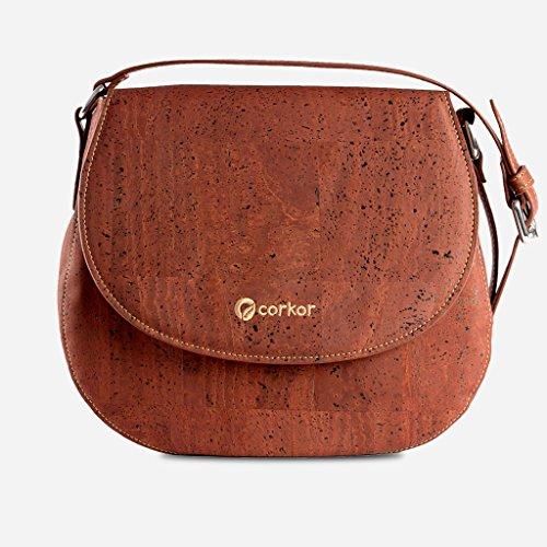 Corkor Veganer Schultertasche Böhmischen Umhängetasche Damen Geldbeutel Handtasche Natur-Leder Natur - Saddle Bag - Beuteltasche aus Veganem Leder Rot - 6