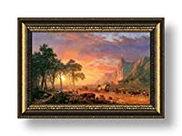 "Alonlineアート–Oregon Trail Albert Bierstadt Framedのコットンキャンバスホーム装飾壁アート博物館品質フレームをハングアップする準備フレーム 20""x12"" - 51x30cm (Framed Cotton Canvas) VF-BDT103-FCC0F05-1P1A-20-12"