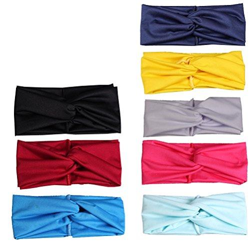 Frcolor Damen elastische Stirnband verdrehte Handband Turban-Kopf Verpackung für Zoga oder Mode 8pcs (8 Farben)