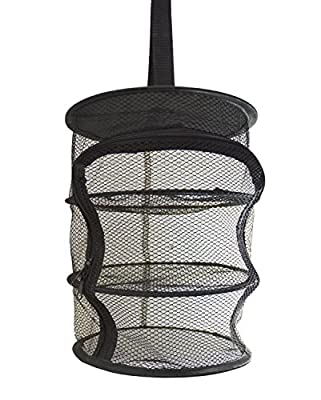 9 Inch 3 Level Micro Hanging Dry Net Indoor/Closet Drying Rack for Herbs, Organizer, Freshner - Black Mash Screen with Top-to-Bottom Zipper - Apartment Size with Zipped Storage Pouch