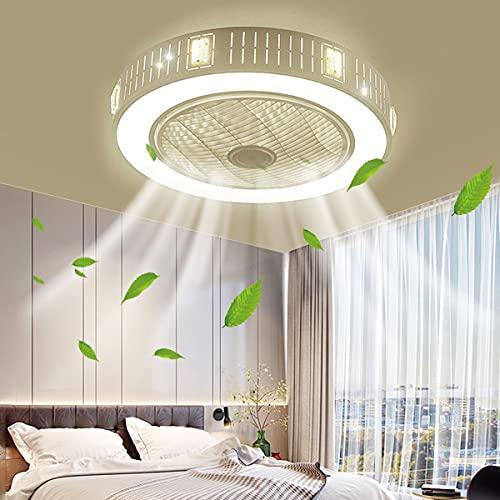 HAITOY Ventilador de Techo LED con lámpara 30W Ventilador de luz de Techo Invisible LED de 6 velocidades, Ventilador de lámpara de Techo para Sala de Estar, Dormitorio, Oficina
