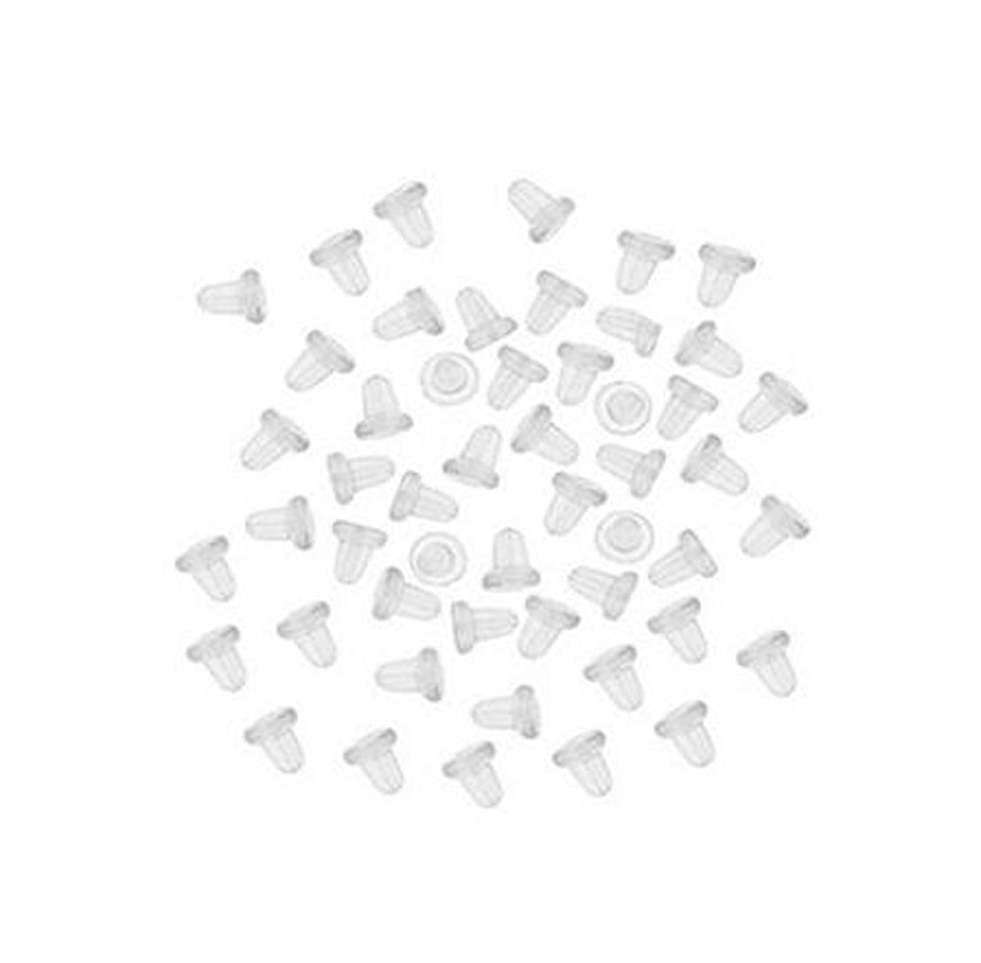 50Pair(100pcs)Clear Color Plastic Rubber Bullet Clutch Earring Safety Back Stopper Replacement for Fish Hook Earring (Clear)