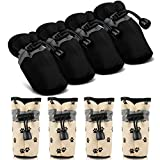 Weewooday 4 Pairs Reflective Dog Shoes Adjustable Waterproof Pet Boots Anti-Slip Dog Sock Shoes Soft Sole Dog Boot Drawstring Boot Paw Protectors for Small Puppy (Black)