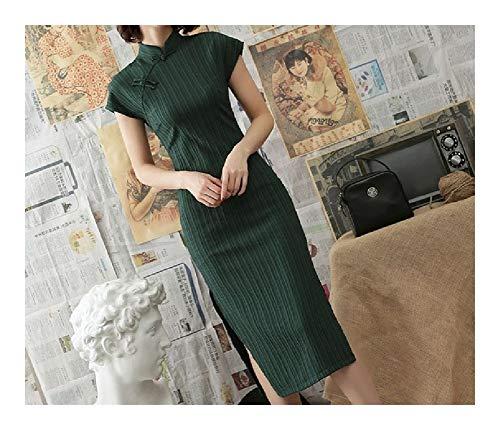 LPZW Traditionelle Chinesische Brautkleider for Frauen Oriental Elegante Klassische dünne Cheongsam Baumwolle Leinen langes Qipao Dame Bankett (Color : Color 5, Size : Large)