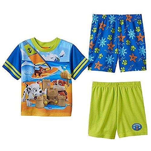 Paw Patrol Boys Size 3T Marshall, Chase and Rubble Beach Pajama Shorts Sets