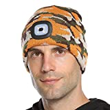 Bosttor LED Beanie Hat with Light, Rechargeable Bright LED Headlamp Cap, Unisex Winter Warm Knitted Hats, Headlight Torch for Running Hiking Camping, Gifts for Men Women Handyman Teens, Camo Yellow
