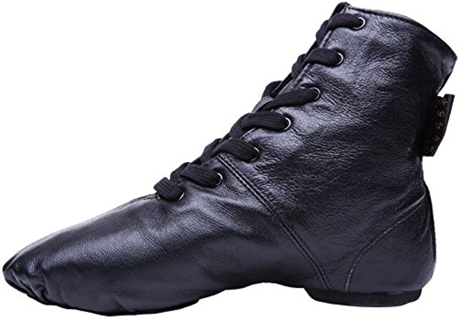 Ruanyi Professional Jazz Dance shoes, Leather Black High-top Jazz Boots for Men Women