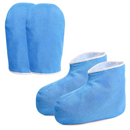 Noverlife cera de parafina botines guantes, mitones baño de cera Mano tratamiento de pies spa cubierta, Calor Terapia con aislamiento suaves del algodón manoplas Pies Cuidado de las manos