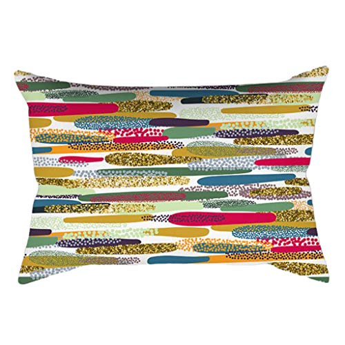 gszfsm001 - Funda de cojín rectangular, diseño de rayas abstractas, multicolor