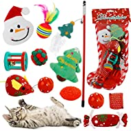 Christmas 12 PCS Cat Toys Kitten Indoor Interactive Set Cats Plush Catnip Stocking Pack Chew Mouse R...