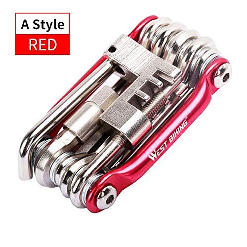 Multi Tool Outils de réparation de vélos chaîne Hex Tournevis 10 Clé à Rayons en 1 Kit Set Route VTT Vélo Vélo Outils à usages Multiples (Color : Basic Red)