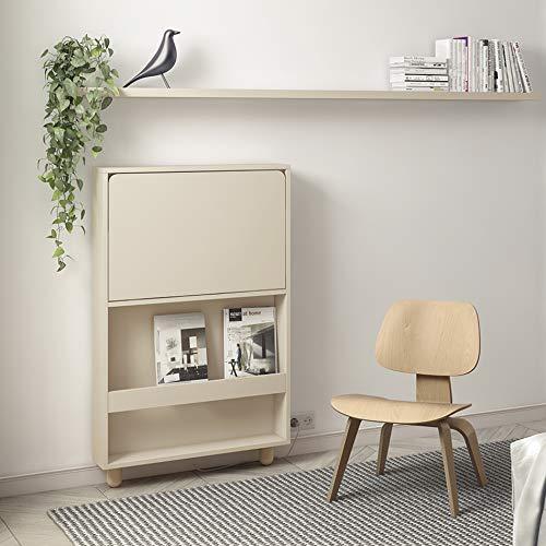 ROS Schreibtisch, Wandmontage, klappbar, mit Regal, LED-Licht, USB-Port und Steckdose - XX cm