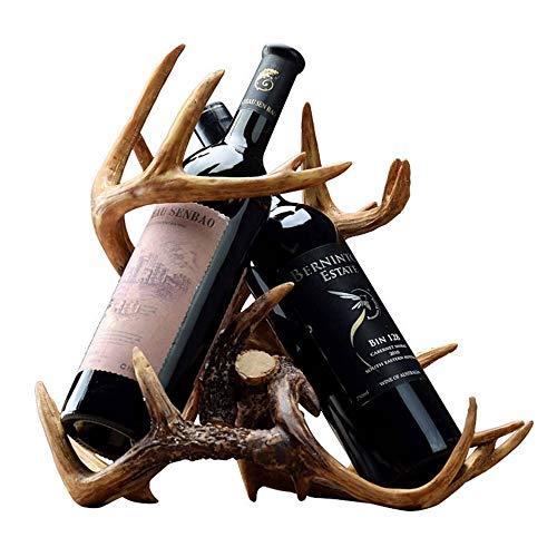 LULUVicky Soporte decorativo para botellas de vino, soporte para venado, soporte para botella, soporte para botella, soporte para 2 botellas de vino en casa