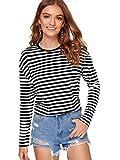 SweatyRocks Women's Casual Striped Tee Shirt Long Sleeve Round Neck Top Black M