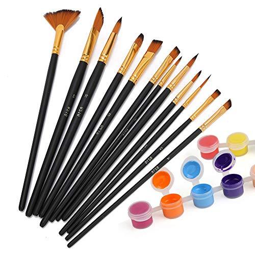 Weikeya Conjunto Especial de Cepillo de Nylon, Resistencia de fricción Material de Nylon Pinceles de Pintura Nylon y Madera para Artistas Estudiantes