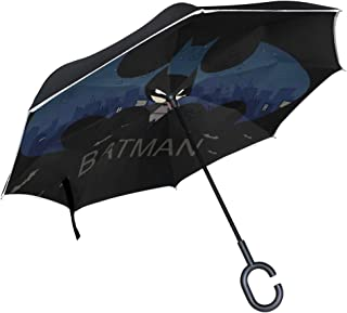 Cartoon Batman Reverse Umbrella Inverted Umbrella Windproof Umbrellas UV Protection for Car Rain Outdoor with C-Shaped Handle