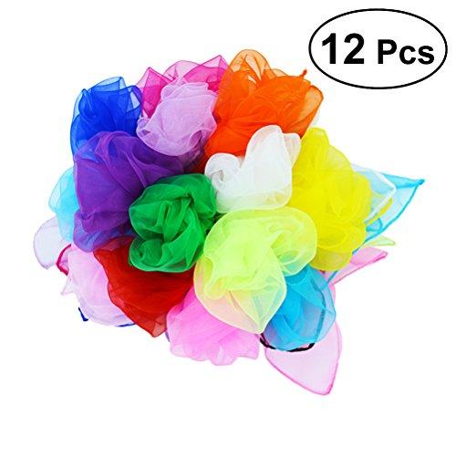 YeahiBaby 12pcs malabarismo Cuadrado pañuelo de Seda Bufandas Trucos de Magia Accesorios de Rendimiento Accesorios Movimiento Bufandas 18 por 18 Pulgadas (Color al Azar)